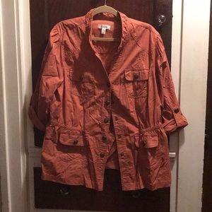 Safari jacket style blazer in orange/brown